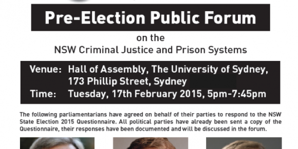 Pre-Election Public Forum on the NSW Criminal Justice and Prison Systems